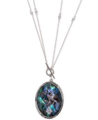 Judith Jack Sterling Silver Convertible Large Abalone Disc Pendant Necklace