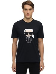 Karl Lagerfeld K.L. Embroidered Cotton Jersey T Shirt Blue