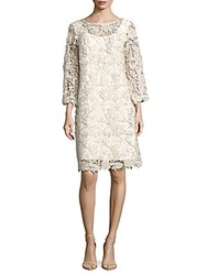 Isaac Mizrahi Three Fourth Sleeve Floral Dress Ivory Gold