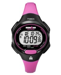 Timex Watch Women's Digital Ironman 10 Lap Pink Resin Strap T5k525um