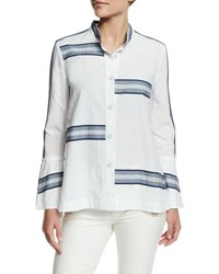 Derek Lam Bell Sleeve Poplin Striped Trim Blouse Soft White
