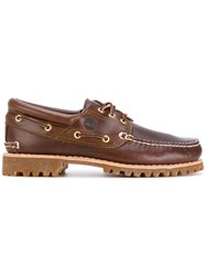 Timberland Boat Shoes Leather Rubber 41.5 Brown