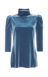 Luisa Beccaria Long Sleeved Velvet Turtleneck Blue