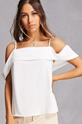 Forever 21 Flounce Off The Shoulder Top White