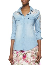 Haute Hippie Long Sleeve Chambray Shirt W Threadwork