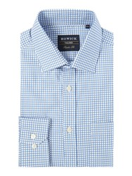 Howick Brookline Gingham Twill Shirt Blue