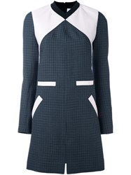 Courreges Colour Block Tweed Shift Dress Grey
