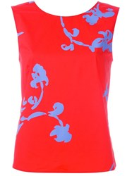 Tory Burch Floral Print Tank Top Red
