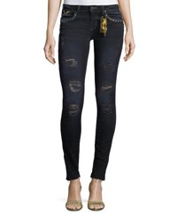 Robin's Jeans Marilyn Distressed Studded Skinny W Zip Cuffs Black
