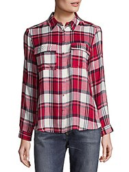 Saks Fifth Avenue Ciara Button Down Shirt Red Navy