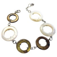 One Button Mother Of Pearl Circles Long Row Bracelet Coffee Cream