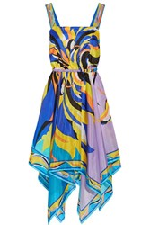 Emilio Pucci Fiore Maya Asymmetric Printed Silk Chiffon Dress Blue