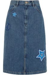 Mih Jeans M.I.H Parra Embroidered Denim Skirt Mid Denim