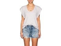 Lilla P Flutter Sleeve Pima Cotton Blend T Shirt Gray
