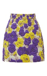 Ungaro Emanuel Embroidered Mini Skirt Purple Yellow
