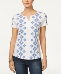 Charter Club Cotton Embroidered Top Only At Macy's Bright White