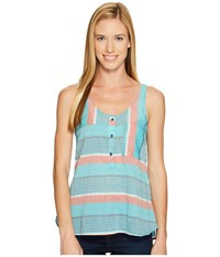 Woolrich Spring Fever Eco Rich Tank Top Aquamarine Stripe Women's Sleeveless Blue