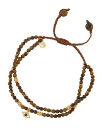 Tai Tiger's Eye Beaded Bracelet W Evil Eye Charm Brown
