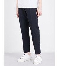Sandro Tailored Fit Tapered Mid Rise Wool Blend Trousers Navy Blue