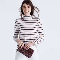 Madewell Whisper Cotton Turtleneck In Wellton Stripe Pure White
