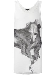 Ann Demeulemeester Dog Print Tank Top White