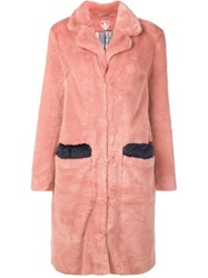 Shrimps Long Faux Fur Coat Pink Purple