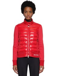 Moncler Wool Knit Cardigan And Nylon Down Jacket Red