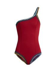 Kiini Soley One Shoulder Crochet Trimmed Swimsuit Red Multi