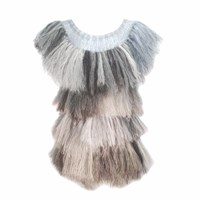 Claire Andrew Grey Shades Fringed Knit Top