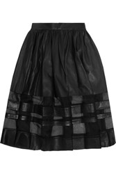 Alice Olivia Misty Silk Organza Paneled Leather Midi Skirt Black