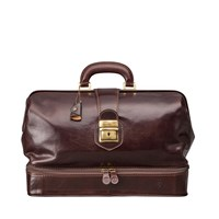 Maxwell Scott Bags Luxury Italian Leather Doctor Bag Large Donnini Dark Chocolate Brown