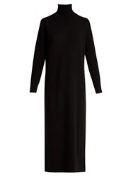 Allude Roll Neck Wool And Cashmere Blend Dress Black