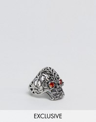 Reclaimed Vintage Skull Ring With Glass Eyes Silver