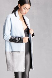 Forever 21 Longline Colorblocked Coat Baby Blue