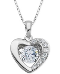 Giani Bernini Fluttering Cubic Zirconia Concave Heart Pendant Necklace In Sterling Silver