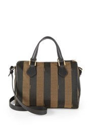 Fendi Pequin Boston Jacquard Shoulder Bag Tobacco