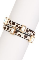 T J Designs Animal Print Double Band Crystal And Genuine Horse Hair Bracelet Multi
