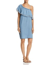 Aqua Ruffled One Shoulder Chambray Dress 100 Exclusive Indigo