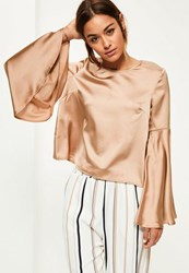 Missguided Gold Trumpet Sleeve Satin Blouse Brown