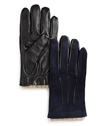 Bloomingdale's The Men's Store At Suede And Leather Tech Gloves Blue Black