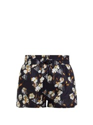 Off White Floral Print Technical Shorts Black