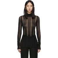 Yang Li Black Grunge Turtleneck