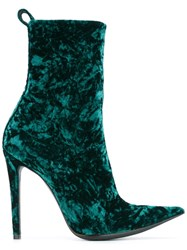 Haider Ackermann Crushed Velvet Ankle Boots Green