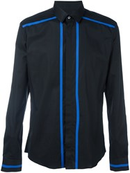 Les Hommes Striped Trim Shirt Black