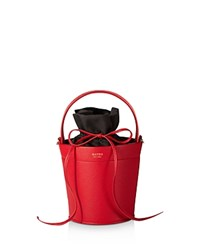 Mateo Madeline Leather Bucket Bag Rouge Red Gold