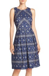 Eliza J Women's Lace Fit And Flare Dress Blue