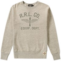Rrl Double V Graphic Crew Sweat Grey