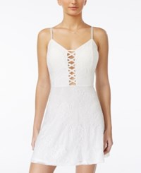 Material Girl Juniors' Lattice Front Lace Flare Dress Only At Macy's White