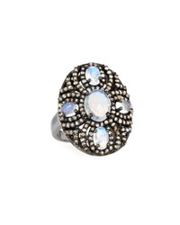 Bavna Oval Rainbow Moonstone And Diamond Cocktail Ring