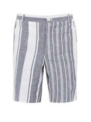 Thom Browne Striped Slubbed Linen Shorts Navy